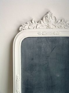 Another amazing ornate antique frame turned into a chalkboard.  Came from a shop that used to be on Etsy.