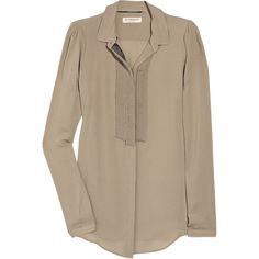 Burberry Accessories Silk-georgette ruffled blouse (€210) ❤ liked on Polyvore featuring tops, blouses, shirts, blusas, burberry, ruffle collar blouse, ruffle collar shirt, long sleeve collared shirt, long sleeve blouse and pleated shirt