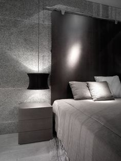 ♂ Modern grey interior design bedroom for man Interesting headboard idea- for tt table Dream Bedroom, Home Bedroom, Modern Bedroom, Girls Bedroom, Bedroom Furniture, Bedroom Decor, Bedroom Ideas, Design Bedroom, Home Music