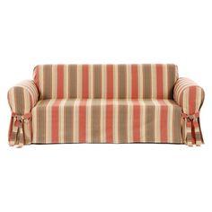 Classic Slipcovers Classic Stripe 1 pc. Slipcover Rust / Brown - CLAI020-3