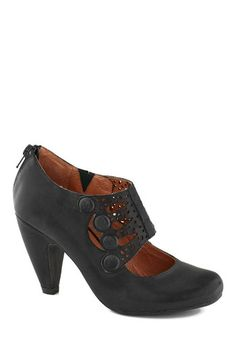 Breathe Prestige Heel in Black by Miz Mooz - Mid, Leather, Black, Solid, Buttons, Cutout, Best, Party, Vintage Inspired, 20s, 30s, Steampunk...