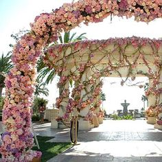 Celebrity Wedding Decoration by Preston Bailey Style Arco Floral, Floral Arch, Wedding Bells, Wedding Ceremony, Wedding Flowers, Wedding Arches, Rose Wedding, Aisle Flowers, Ceremony Arch
