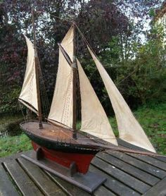 Early wooden pond yacht - circa 1870.