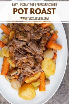 This Instant Pot Pot Roast recipe makes a deliciously classic pot roast in less than an hour. Quick and easy for a great healthy weeknight dinner. Instant Pot Pot Roast | Instant Pot Pot Roast Recipe | Pressure Cooker Pot Roast | Quick Pot Roast Recipe | Easy Pot Roast Recipe | Keto Pot Roast | Low Carb Pot Roast | Easy Pot Roast | Instant Pot Recipes | Pressure Cooker Recipes | TwoSleevers | #twosleevers #potroast #instantpot #easydinnerrecipes #instantpotrecipes Roast Recipe Easy, Easy Pot Roast, Instant Pot Pot Roast, Chuck Roast Recipes, Pot Roast Recipes, Onion Recipes, Pressure Cooker Pot Roast, Instant Pot Pressure Cooker, Pressure Cooker Recipes