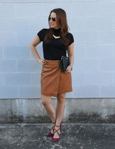 Fall Fashion ideas - leather skirt and turtleneck blouse   Lady in Violet