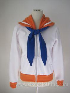 Sailor Venus Seifuku Hoodie Sailor Venus, Sweatshirt Outfit, Hoodie Jacket, Kawaii Sweater, Sailor Moon Merchandise, Japanese School Uniform, Sailor Collar, White Strips, Kawaii Fashion