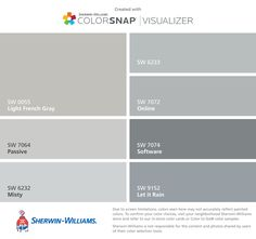 I found these colors with ColorSnap® Visualizer for iPhone by Sherwin-Williams: Agreeable Gray (SW Sea Salt (SW Meander Blue (SW Repose Gray (SW Anew Gray (SW Rainwashed (SW Intimate White (SW Exterior Paint Colors, Exterior House Colors, Paint Colors For Home, Light Grey Paint Colors, Paint Color App, Sw 7036, Sherwin Williams Gray, Sherwin Williams Rain Washed, Sherwin Williams Krypton