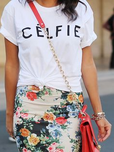 We love this floral pencil skirt! More blogger trends here: http://www.bhg.com/beauty-fashion/fashion/2014-spring-accessories-blogger-roundup/?socsrc=bhgpin070214bloggeraccessories&page=6