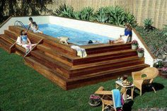 Beautiful deck for an otherwise unattractive pool. Love this idea! Wonder what other materials could be used.