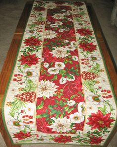 Christmas Table Runner Quilted fabric from by PicketFenceFabric, $37.95