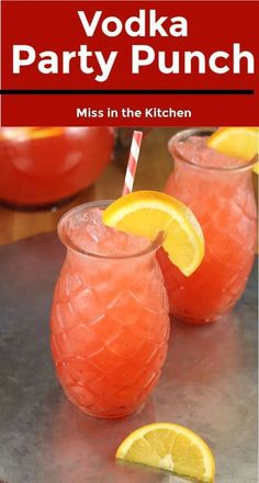 Vodka Party Punch Ingredient Fruit Punch} - Miss in the Kitchen Vodka Party Punch is a simple fruit punch for parties and celebrations. Easy to make ahead in a large batch and can even be frozen for a slushie cocktail. Alcohol Drink Recipes, Vodka Recipes, Easy Vodka Drinks, Wine Cocktails, Cocktail Recipes With Vodka, Alcoholic Punch Recipes Vodka, Vodka Frozen Drinks, Vodka Mixed Drinks, Fruity Alcohol Drinks