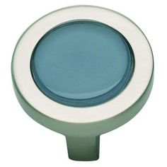 Atlas Homewares Spa Collection 1-1/4 in. Blue Glass With Brushed Nickel Round Cabinet Knob - 229-BLU/BRN at The Home Depot