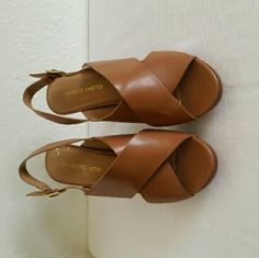 Sandals Carmel color sandals with 3 1/2 inch heel. Brand new. Franco Sarto Shoes Sandals