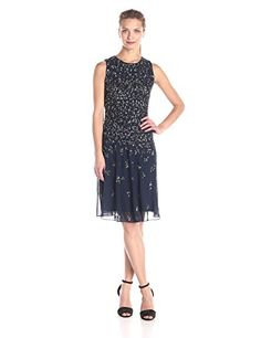 Adrianna Papell Women's Sleeveless Fully Beaded Cocktail Dress with High Neckline - New Dresses Special Today