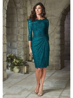 Short Purple 3/4 Length Sleeves Lace Mother of The Bride Dresses 5603029