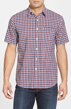 James Campbell 'Burnie' Regular Fit Check Short Sleeve Sport Shirt available at #Nordstrom