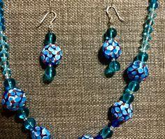 Blue Lampwork set by ericacatlett on Etsy