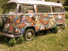 painted butterfly VW bus