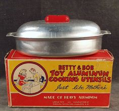 Old Betty & Bob Toy Aluminum Roaster with Box