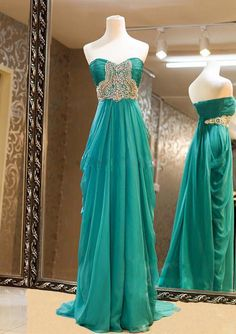 Custom Made Sweetheart Sweep Train Beaded Prom Dresses,Green Prom Gown,A-line Strapless Prom Dress,Cheap Evening Dress