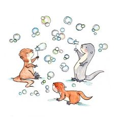 Of Otters and Bubbles Nursery Art Print New Baby by ohhellodear