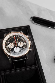 Being one of the most famous pilot's watches ever, the Navitimer from Breitling is a true icon. The Navitimer 1 B01 Chronograph 46 (Ref. UB0127211B1P1) therefore comes with the typical slide-rule bezel, a chronograph, a date window, a steel case on a leather strap with a bezel together with hands and indices in rose gold. The Breitling manufacture movement can additionally be observed through a transparent case back. Breitling Navitimer, Breitling Watches, Slide Rule, Chronograph, Window, Rose Gold, Hands, Steel, Luxury