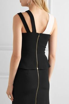 Roland Mouret - Thornhill Two-tone Stretch-crepe Top - Black - UK