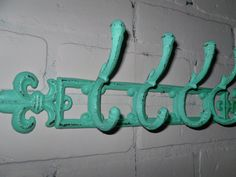 Fleur de Lis / Coat Rack / Cast iron  / Shabby chic  /Metal wall hook /Bathroom hook / Fixture/ Seafoam green / Shabby Chic Decor, $24.00