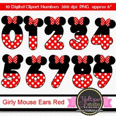 Minnie Mouse clipart numbers Red Black age digital clip art mimi cliparts images png Pink and black ears polka dot dots polkadots. DIGITAL clipart, instant download. This art is inspired in original characters but is not licensed,all the rights belong to each original designer. This