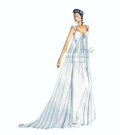 Illustrazione Sposa disegnata a mano by @MissStyleCreazioni #BrideIllustration #fashionIllustration.