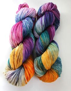 Hand Dyed Sock Yarn Superwash Merino Nylon 400 by SpunRightRound, $24.00