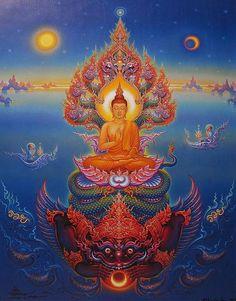 Buddha Painting by Chalermchai Kositpipat Thai visual artist Buddha Painting, Buddha Art, Psychedelic Art, Thailand Art, Tibetan Art, Thai Art, Mystique, Visionary Art, Sacred Art