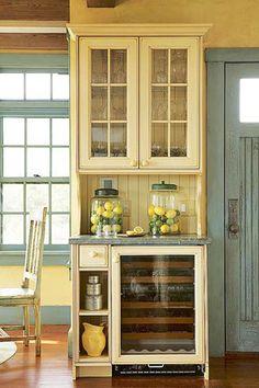 Country Cottage Décor ● Cream & Blue Kitchen Storage