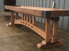 This craftsman style shuffleboard was custom designed for a customer with a mid-century home. This table would make a statement in a man