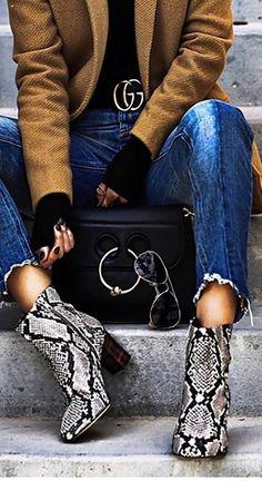 JW ANDERSON HANDBAG   Python Boots   Gucci   Winter Fashion   Cute Winter Outfits   <3 @benitathediva