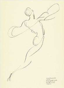 "Drawing by Stanley Roseman of Mikhail Baryshnikov as Prince Albrecht, ""Giselle,"" American Ballet Theatre, 1975, Albertina, Vienna."