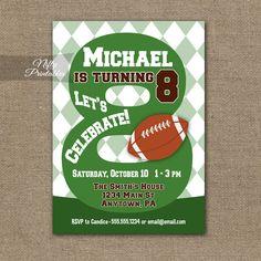 8th Birthday Invitation – Football 8th Birthday