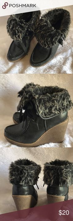 Mossimo Supply Co fur trimmed wedge boot Mossimo Supply Co fur trimmed wedge boot Mossimo Supply Co Shoes Ankle Boots & Booties