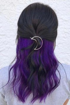 Peekaboo highlights: Women with dark brown hair with purple peekaboo highlights, styled half up with a moon hair accessory Purple Brown Hair, Brown Hair Cuts, Brown Hair Shades, Purple Wig, Long Brown Hair, Hair Color Purple, Brown Blonde Hair, Light Brown Hair, Brown Hair Colors