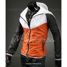 Slim Fit Splicing Zipper Hooded Jacket For Men