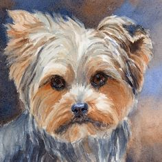 Yorkie Print of Watercolor Dog Painting Yorkshire Terrier