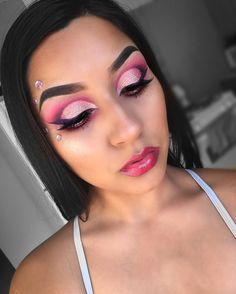 Pink and purple Valentine's Day makeup with gems IG: @Vmariexoxo_
