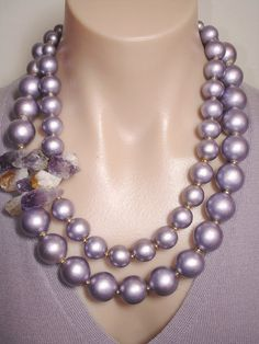 Ashira Mauve Metallic Wood Beads with Corsage of Brazilian Amethyst Citrine Crystals - Statement Necklace