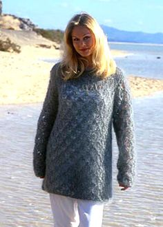 Jumper with lace pattern. Lengthen to wear as a dress with leggings or thick tights. Sweater Knitting Patterns, Knit Patterns, Free Knitting, Drops Design, Thick Tights, Pullover, Dresses With Leggings, Beautiful Outfits, Vintage Inspired