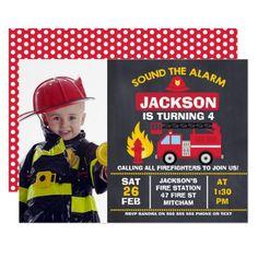 Boys Photo Fire Engine Birthday Invitation 16th