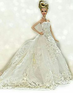 BArbie in white gown