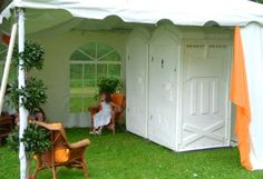 Outdoor port potty idea for outdoor venue with no access to bathrooms. Wedding Set Up, Camp Wedding, Plan My Wedding, Tent Wedding, Wedding Venues, Wedding Planning, Wedding Ceremonies, Wedding Ideas, Wedding Things