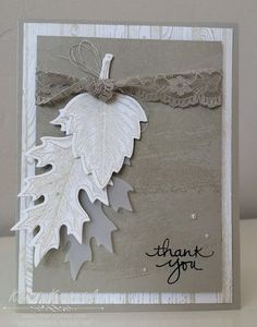 A soft and romantic handmade thank you card featuring the Vintage Leaves stamp set by Stampin' Up! Created by Kristin Kortonick