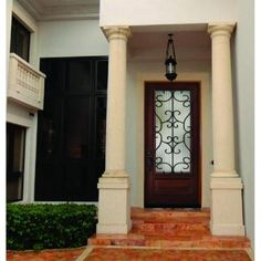 Decorative Iron Grille 3 4 Lite Stained Mahogany Wood Prehung Front Door Chestnut White