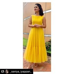 Saniya Iyappan in yellow tulle dress Simple Long Dress, Indian Party Wear, Indian Wear, Casual Dresses, Fashion Dresses, Churidar Designs, Photoshoot Images, Latest Outfits, Indian Designer Wear